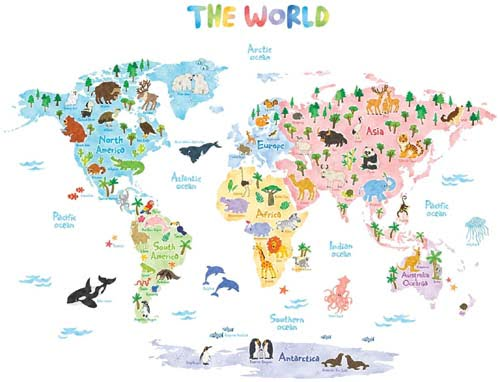 DECOWALL DLT-1615 Animal World Map for Kids