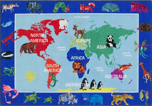 Home Dynamix Eric Carle Elementary World Map Educational Kids Area Rug