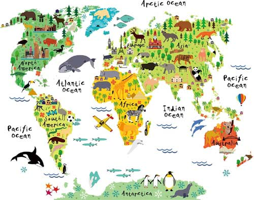 Kids Educational Animal Landmarks World Map Peel & Stick Wall Decals Stickers Home Decor Art for Nursery