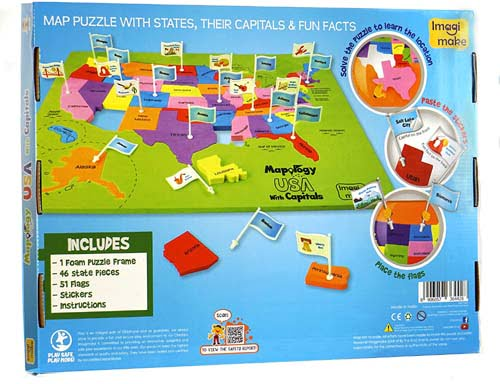 Learn USA States Along with Their Capitals and Fun Facts Educational Map Toy for Kid