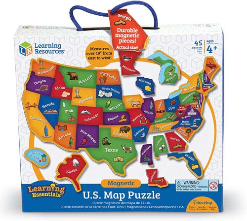 Learning Resources Magnetic U.S. Map Puzzle, Geography and Fine Motor Skills, 44 Pieces, Ages 3+