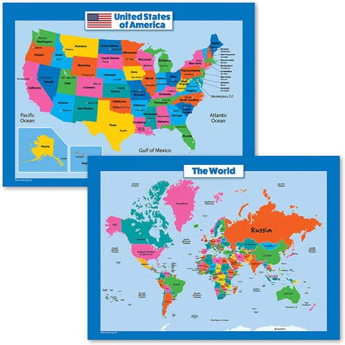 Palace Curriculum World Map and USA Map for Kids