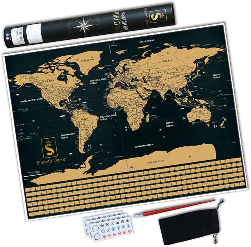 Scratch off World Map-Create a Personalized Map with Countries, States, Cities and Flags- Perfect