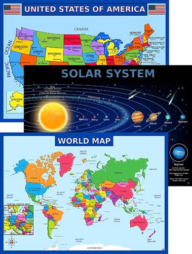 World Map Poster, United States USA Map, Solar System Posters for Kids