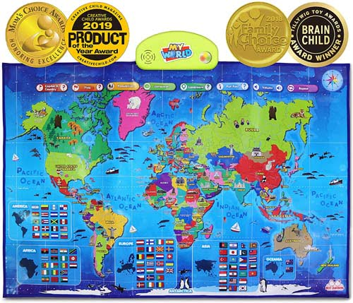 i-Poster My World Interactive Map - Educational Talking Toy for Kids of Ages 5 to 12 Years